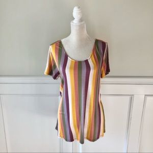 Daytrip Open Back Striped Short Sleeve Top